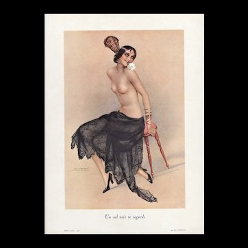Art Deco French Pin-up Style Nude Lithograph