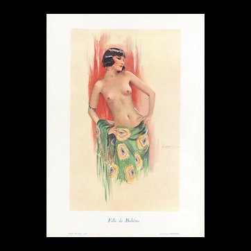 Art Deco Pin-up Style French Nude Lithograph