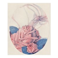 Matted Art Deco Nude in a Rose