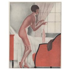 Matted Art Deco 1928 Nude with Lingerie Print