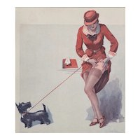 FUN-Matted French Art Deco 1935 Risque Print-Woman & Her Dog