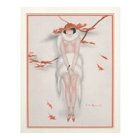 Matted 1921 Art Deco French Nude Print