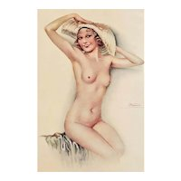 1930 French Lithograph of Nude Woman in her Hat-Suzanne Meunier