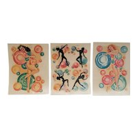 1950s Mid-century Pin-up Style Decal Designs-set of 3