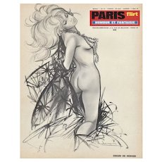 Matted Mid-Century French Pin-Up Nude Print