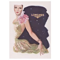 Mid-Century Longines Jewelry Watch Vintage Print