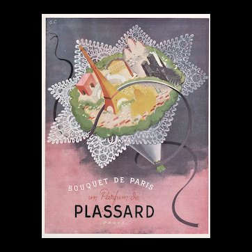 Matted mid-century 1946 French Print-Bouquet of Paris