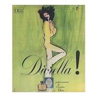 Original Vintage French Christian Dior perfume print by rene Gruau