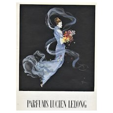 Matted Vintage Mid-Century Lucien Lelong Perfume Advertising Print by Gruau