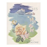 Matted Mid-Century French Lancome Perfume Advertisement Print-Roses & Butterflies