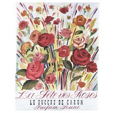 Matted Mid-Century Vintage French Perfume Print-Caron Roses