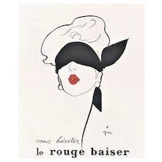 Matted Vintage Mid-Century Lipstick Advertisement Print by Gruau