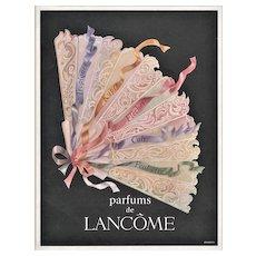 Matted Vintage Mid-Century Lancome Perfume Advertising Print
