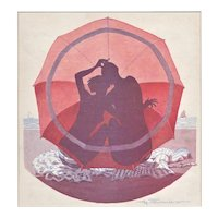 Matted Art Deco 1929 French Beach Illustration Print -Nude Lovers