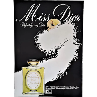 Matted Mid-Century French Dior Perfume Advertisement Print by Gruau