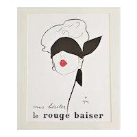 Matted 1949 Vintage French Lipstick Advertisement Print by Rene Gruau