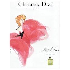 Matted Dior Perfume Print by Gruau