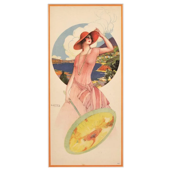 Beautiful Lithograph of Art Deco Woman with Parasol