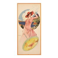 Matted Lithograph of Art Deco Woman with Parasol