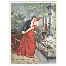 1891 French Belle Epoch Chromolithograph Print-Lovers at Flower Shop