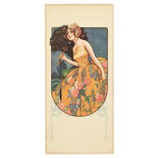 Beautiful Lithograph of Art Deco Woman with Fan