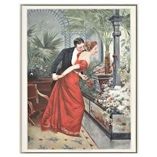 Matted 1891 French Chromolithograph Print-Lovers