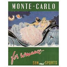 Matted Louis Icart Vintage Travel Print-Monte Carlo