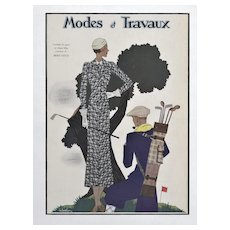 Vintage 1930's French Art Deco Fashion Golf Sport Print