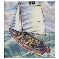 Matted Vintage mid-century sailing sport print
