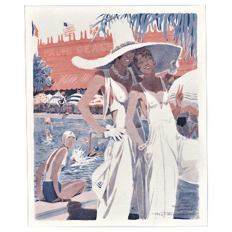 Art Deco Illustration Print Women at Pool