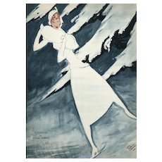 Matted 1932 Art Deco Vintage Print-Ice Skater in Ice-Blue