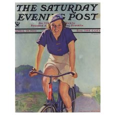 Matted 1934 Magazine Cover Art Print-Woman and her Bicycle