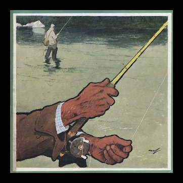 Matted Mid-Century French Sport Print for the Man who Loves to Fish