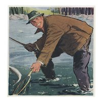Matted Mid-Century Sport Print for the Man who Loves to Fish