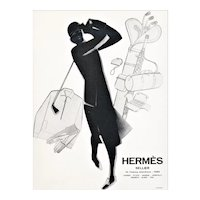 Matted 1929 Art Deco Hermes print-Woman who Loves Sport of Golf