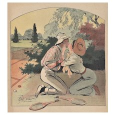 Matted 1908 Tennis Sport Vintage Print -Love Match!