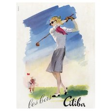 Matted Mid-Century Sport Print-GOLF