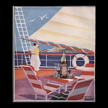 Matted Mid-Century 1952 French Print-Sport of Sailing