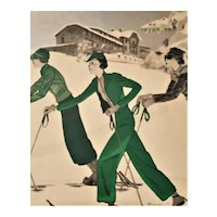 1933 Art Deco French Print for Woman who Loves to Ski in Fashion