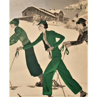 1933 Art Deco French Print for Woman who Loves to Ski in Fashion, Matted
