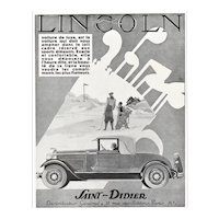 1930 Art Deco French GOLF and Vintage Lincoln Car Advertisement Print, Matted