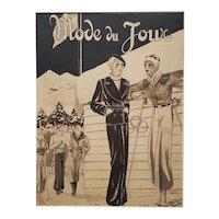 1936 French Art Deco SKi Fashion Print, Matted