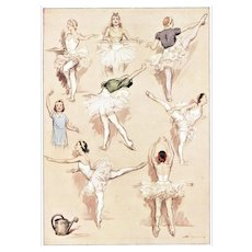 Matted Pair-Ballet Dance Exercise Vintage French prints