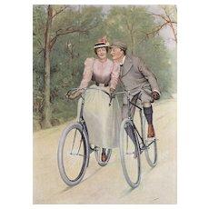 Original 1893 French Vintage Bicycle Print