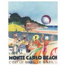 Matted Vintage Monte Carlo Beach Travel Print