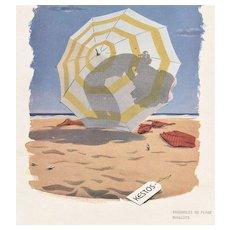 Matted Mid-Century Vintage Advertising Beach Print-