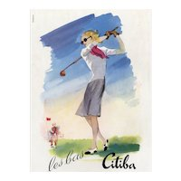 Original French vintage print for the woman who plays GOLF!