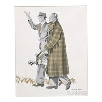 Matted 1939 Art Deco Fashion Print for the MAN who loves GOLF