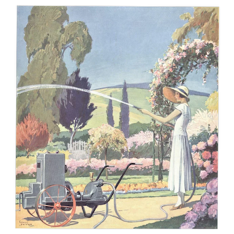 Matted vintage 1933 print-Woman in her Garden