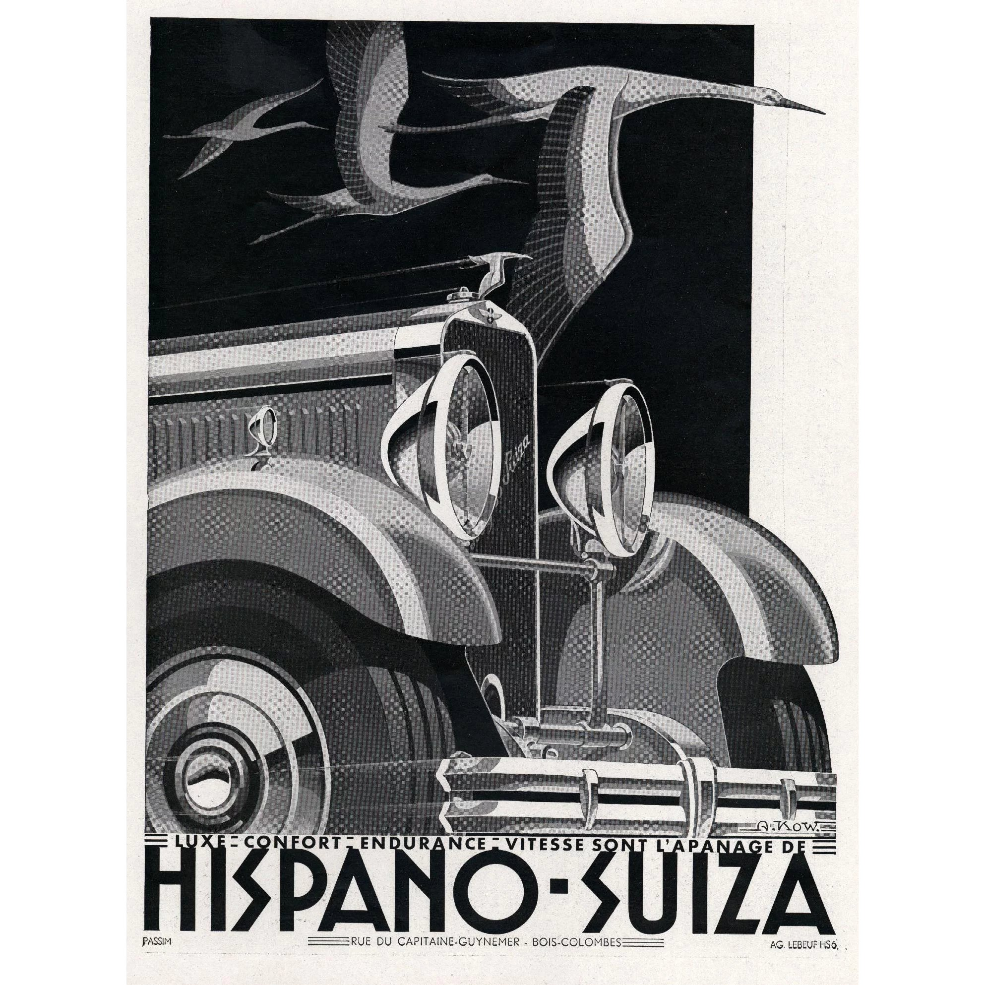 Hispano-Suiza Art Deco Vintage Automobile Print : YoshaGraphics ...